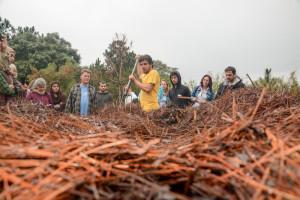 Compostagem em uma zona de uso intensivo de uma Unidade de Conservação, o Camping do Parque Estadual do Rio Vermelho. Foto: Arquivo Cepagro.